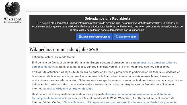 Wikipedia cierra temporalmente en señal de protesta  2883c6c09a476